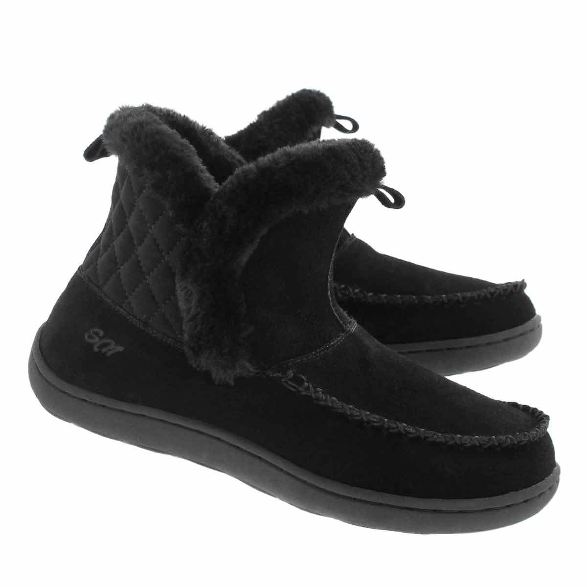 Lds Phoebe Lo blk suede slipper bootie