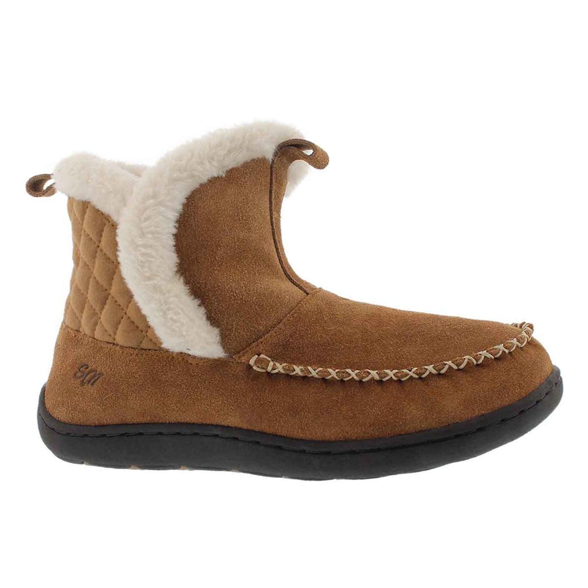 Women's PHOEBE LO chestnut suede slipper booties