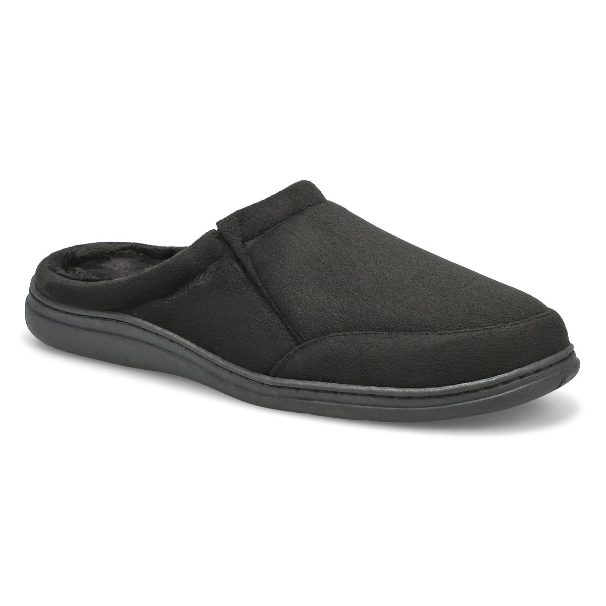Men's POLAR II black microsuede open back slippers