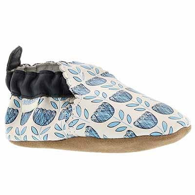 Inf Posies white/blue sole slipper