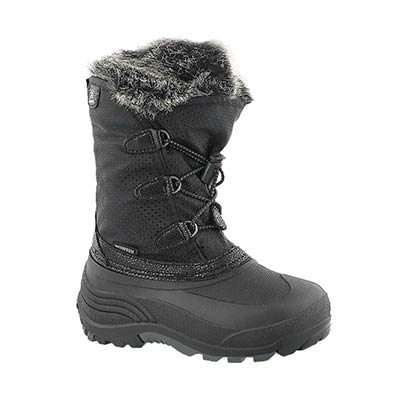 Kamik Girls' POWDERY black waterproof winter boots