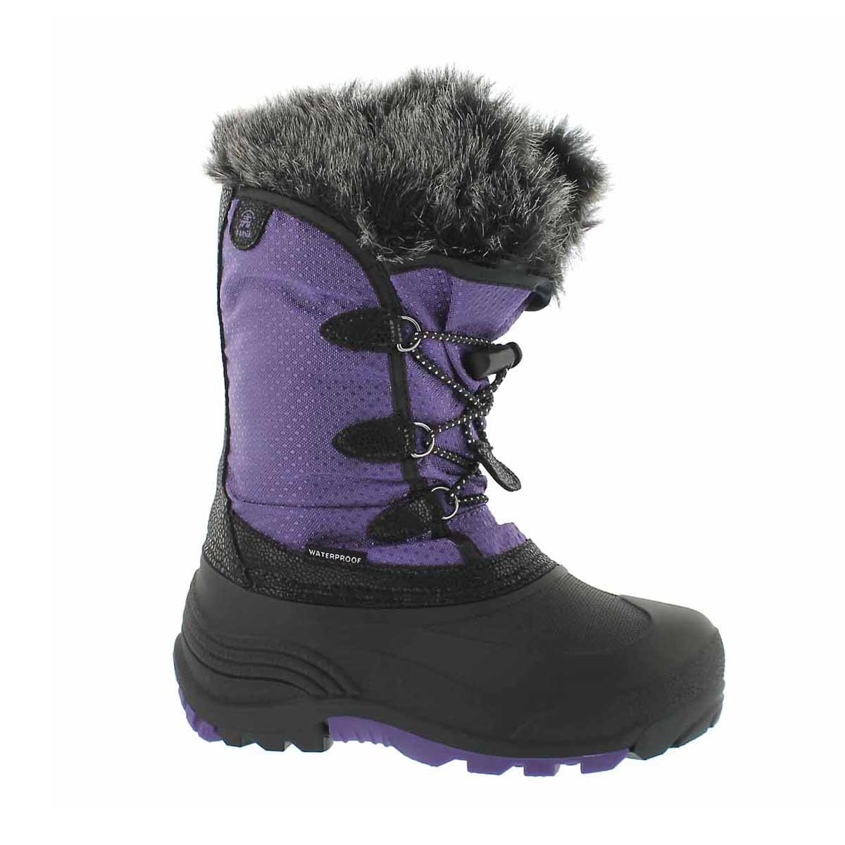 Girls' POWDERY purple waterproof winter boots