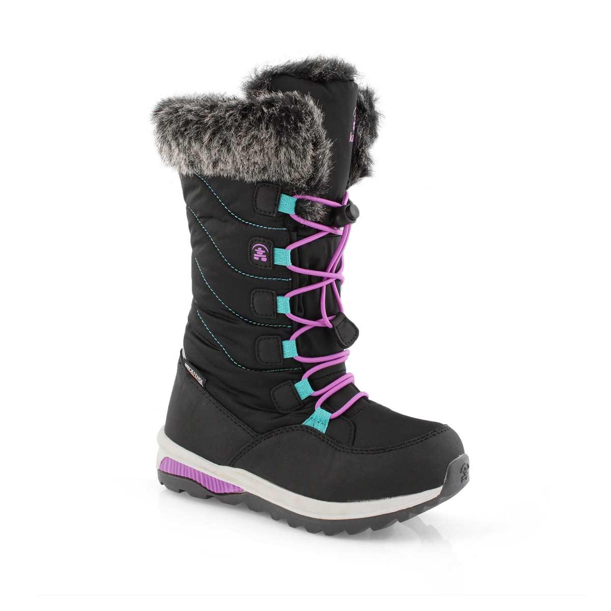Grls Prairie black wtpf winter boot