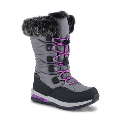 Grls Prairie charcoal wtpf winter boot