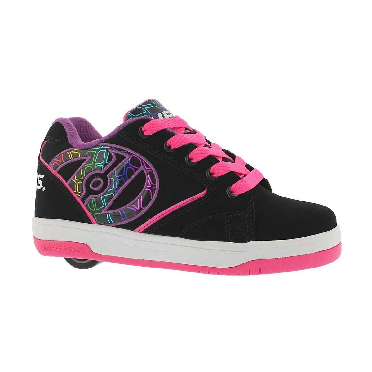 Girls' PROPEL 2.0 black/pink/purple skate sneakers