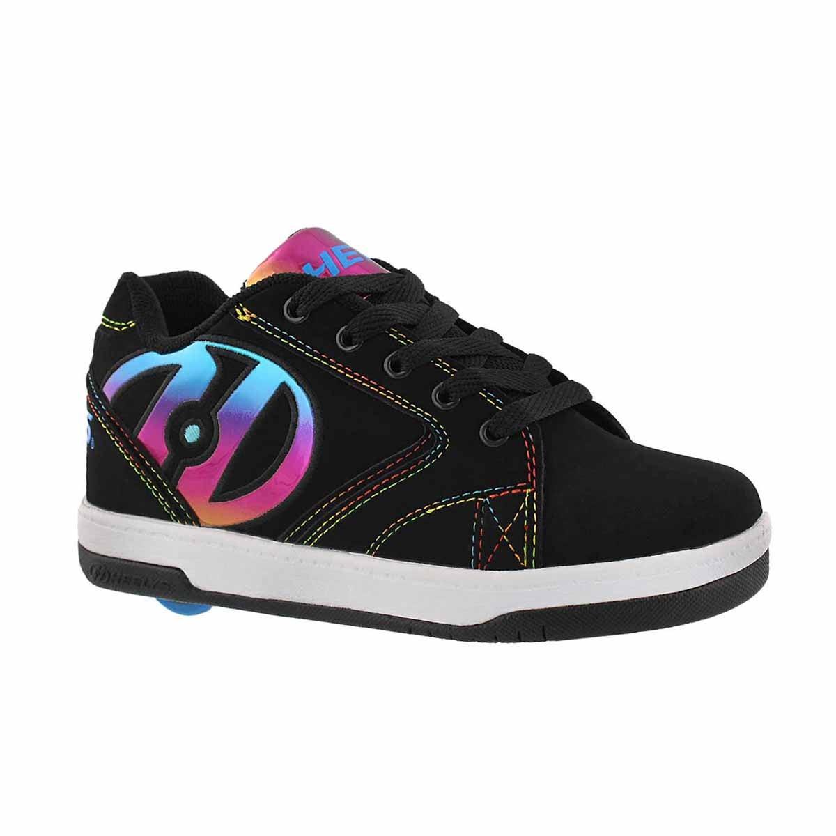 Girls' PROPEL 2.0 black/rainbow skate sneakers