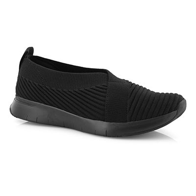 Lds Artknit Ballerina black slip on shoe