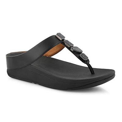 Lds Fino Shellstone black thong sandal