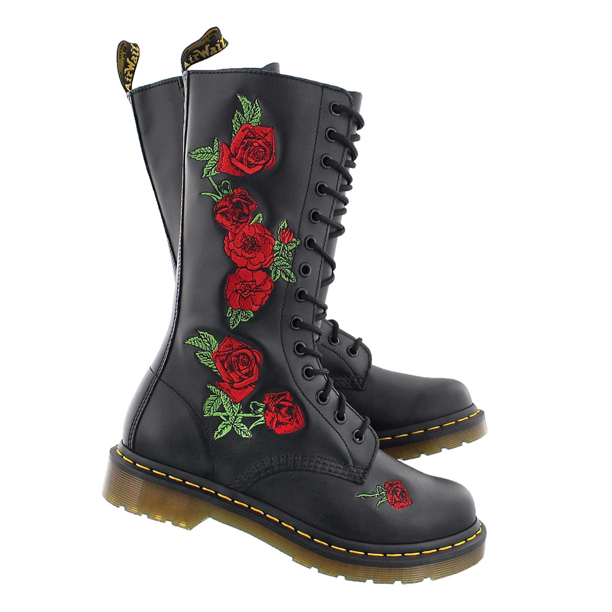 Lds Vonda Embroidery black/red tall boot