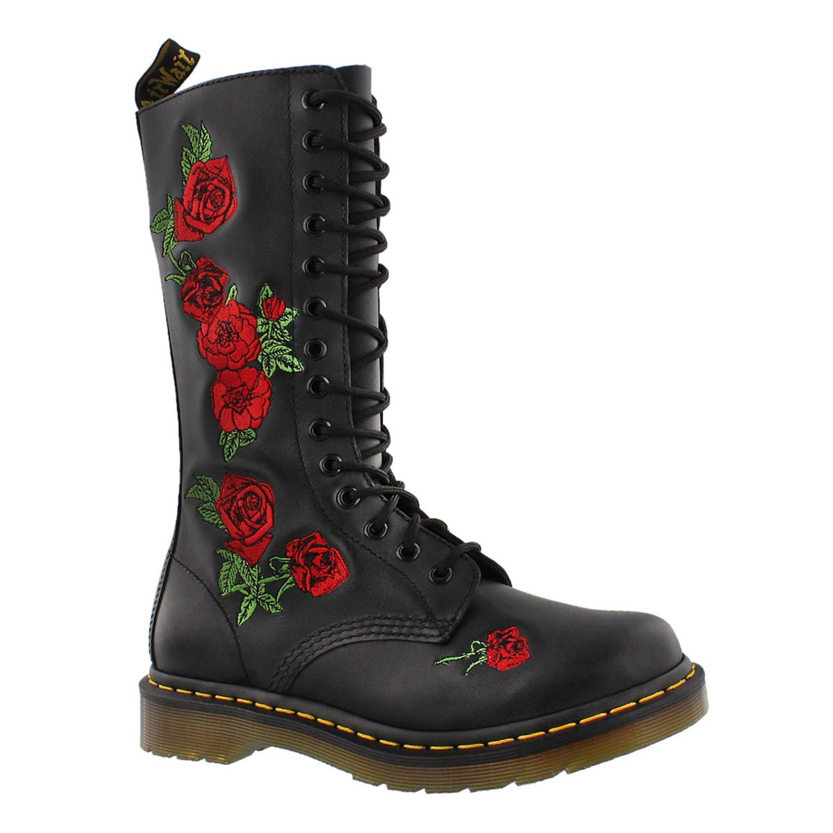 Women's VONDA EMBROIDERY black/red tall boots