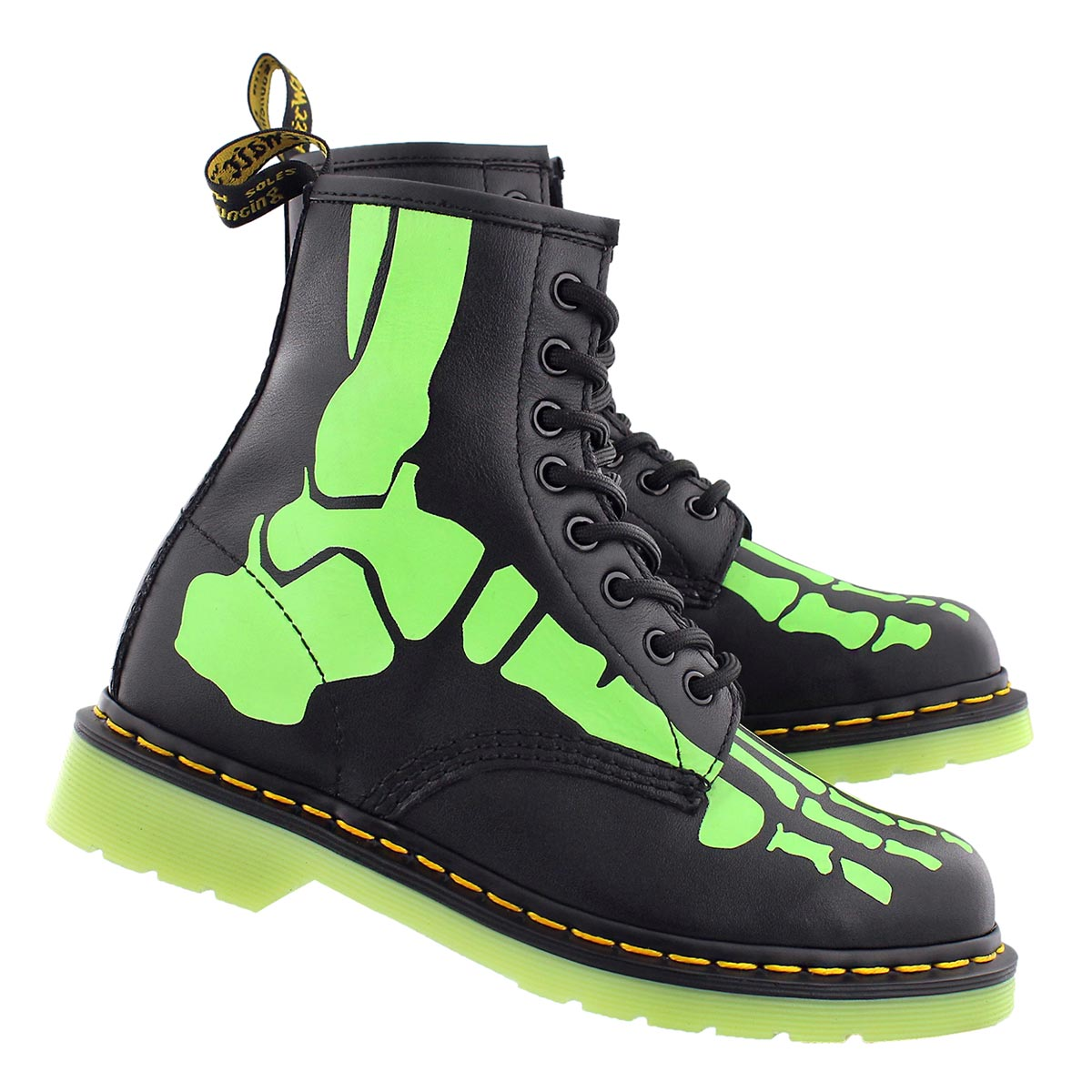 Lds Skelly blk/glow 8 eye boot