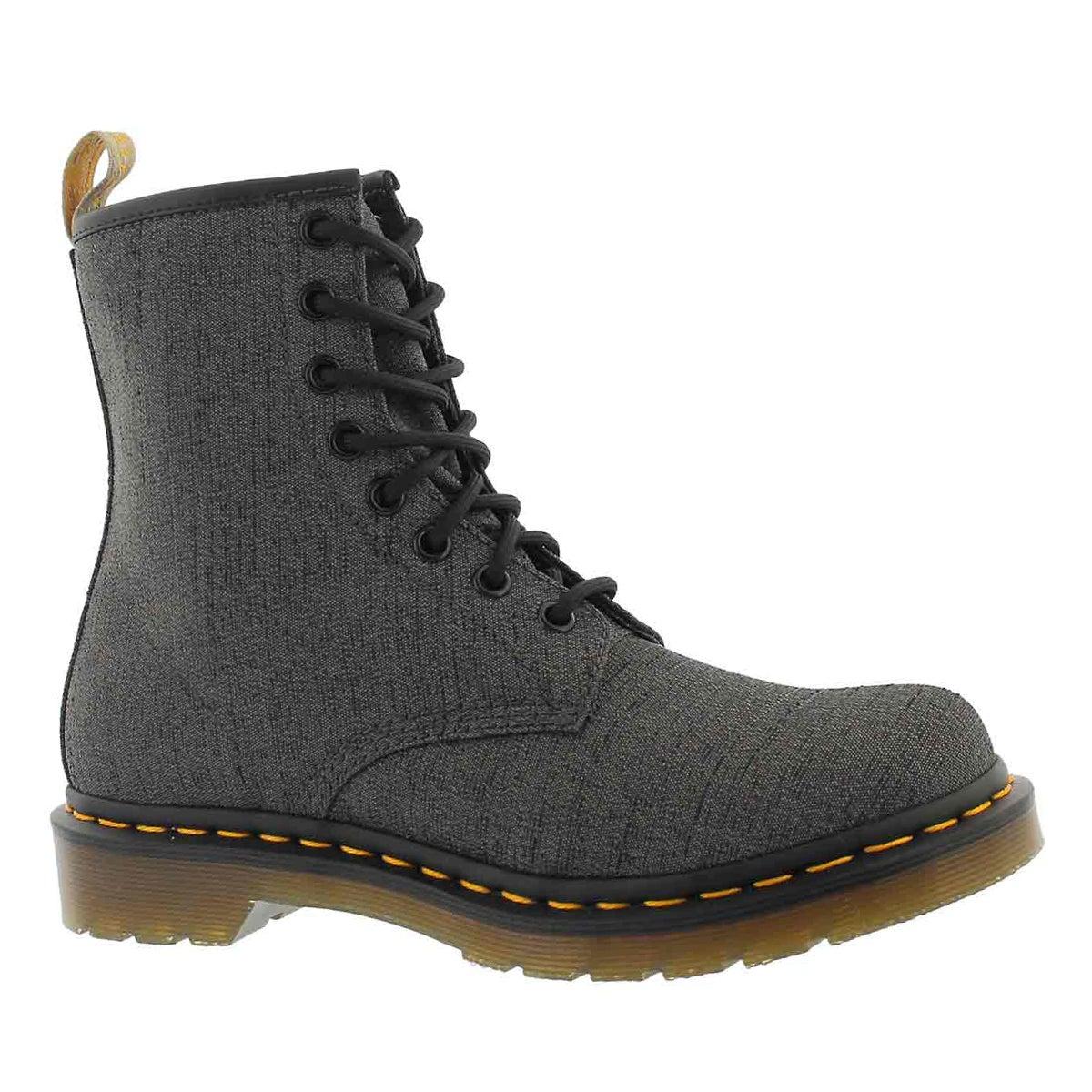 Women's VEGAN CASTEL 8-EYE gunmetal boots