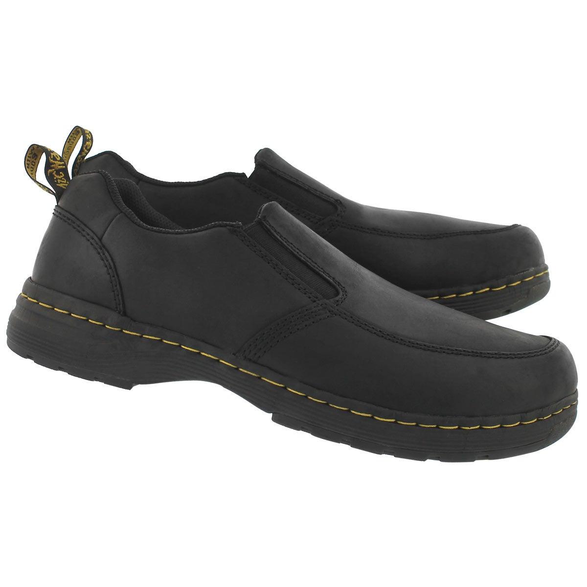 Mns Brennan blk lthr slip on casual shoe