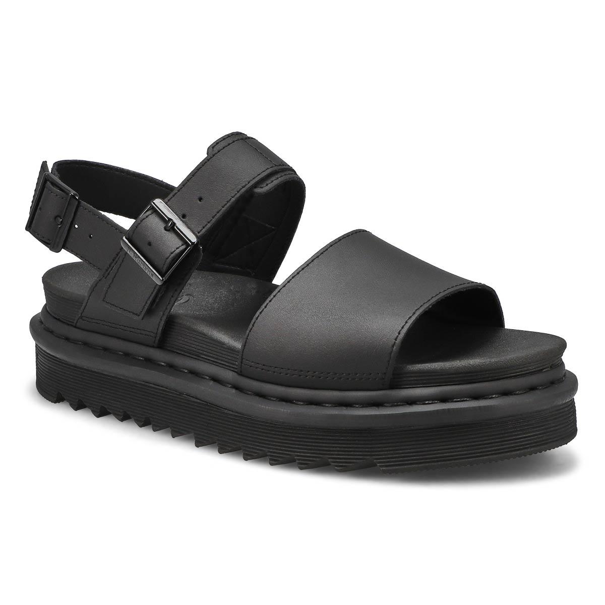 Lds Voss black 2 strap casual sandal