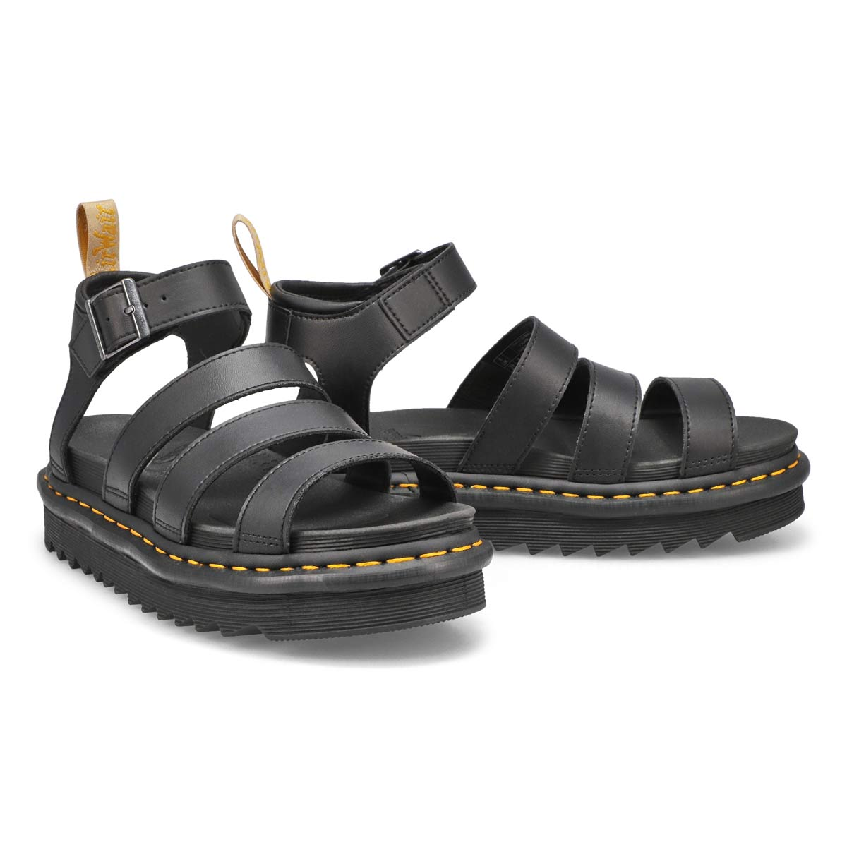 Lds Vegan Blaire black 4 strap sandal
