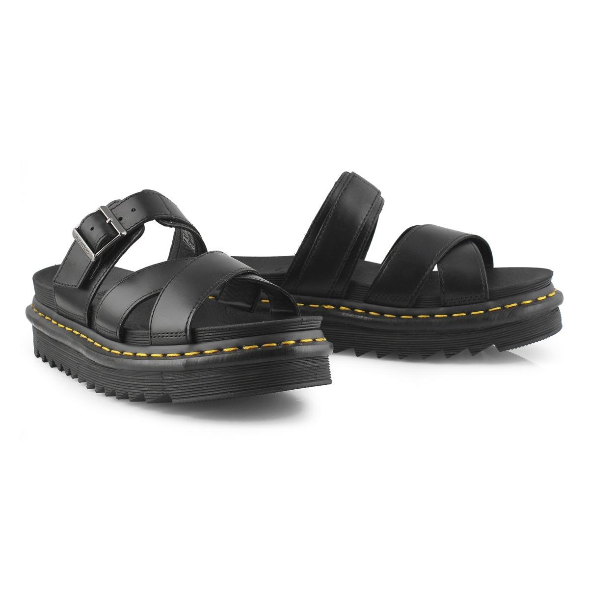 Lds Ryker black 3 strap casual sandal