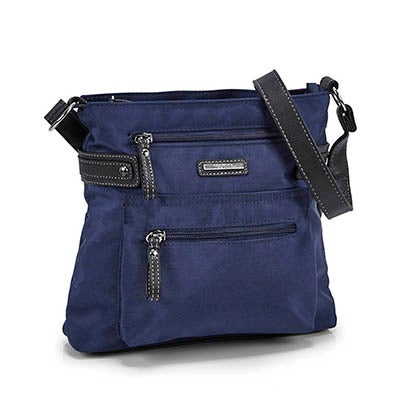 Lds navy north/south crossbody bag