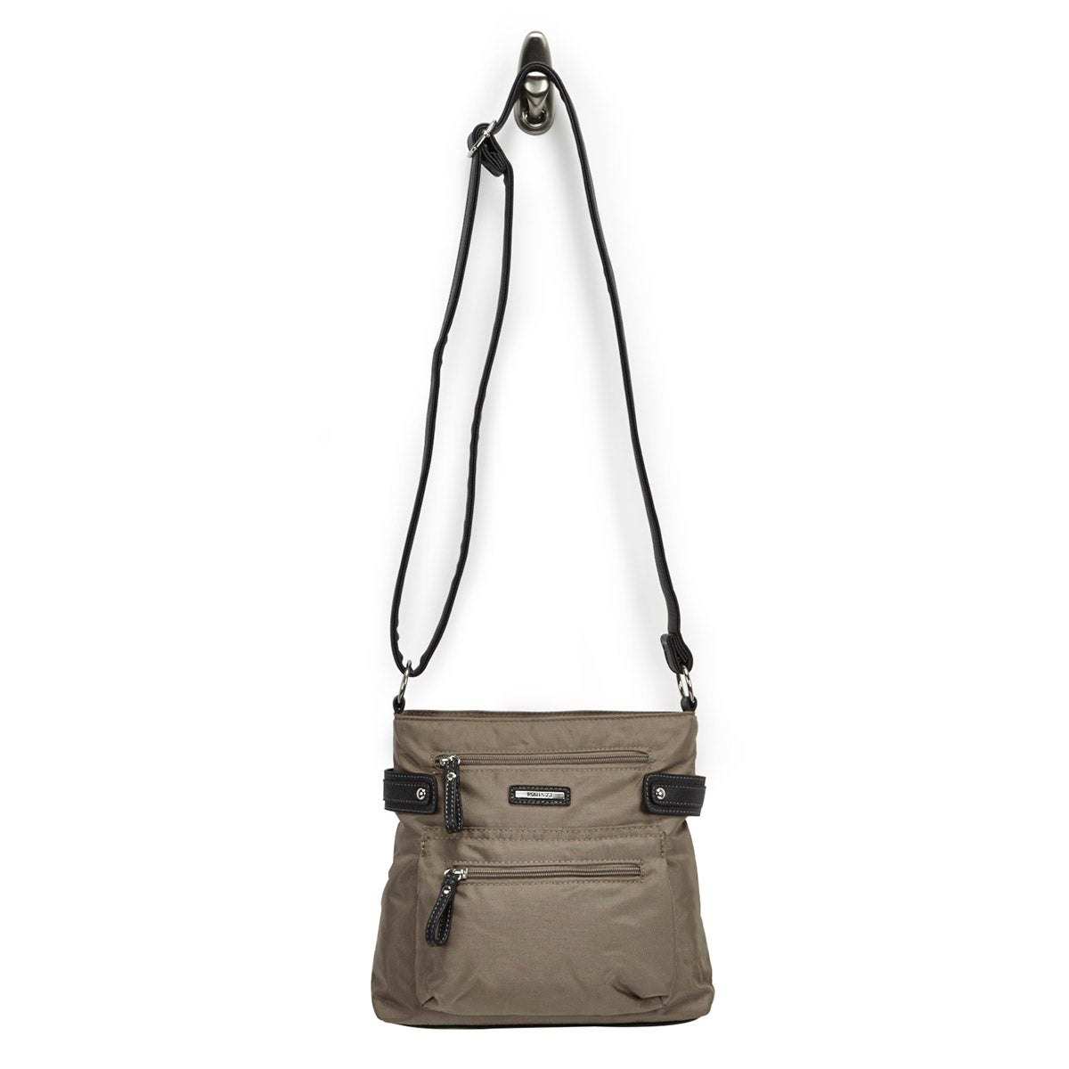Lds taupe north/south crossbody bag