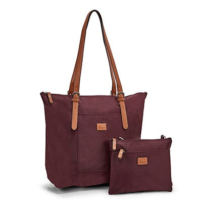 Roots Women's ROOTS73 R4324 burgundy 2 in 1 tote bag