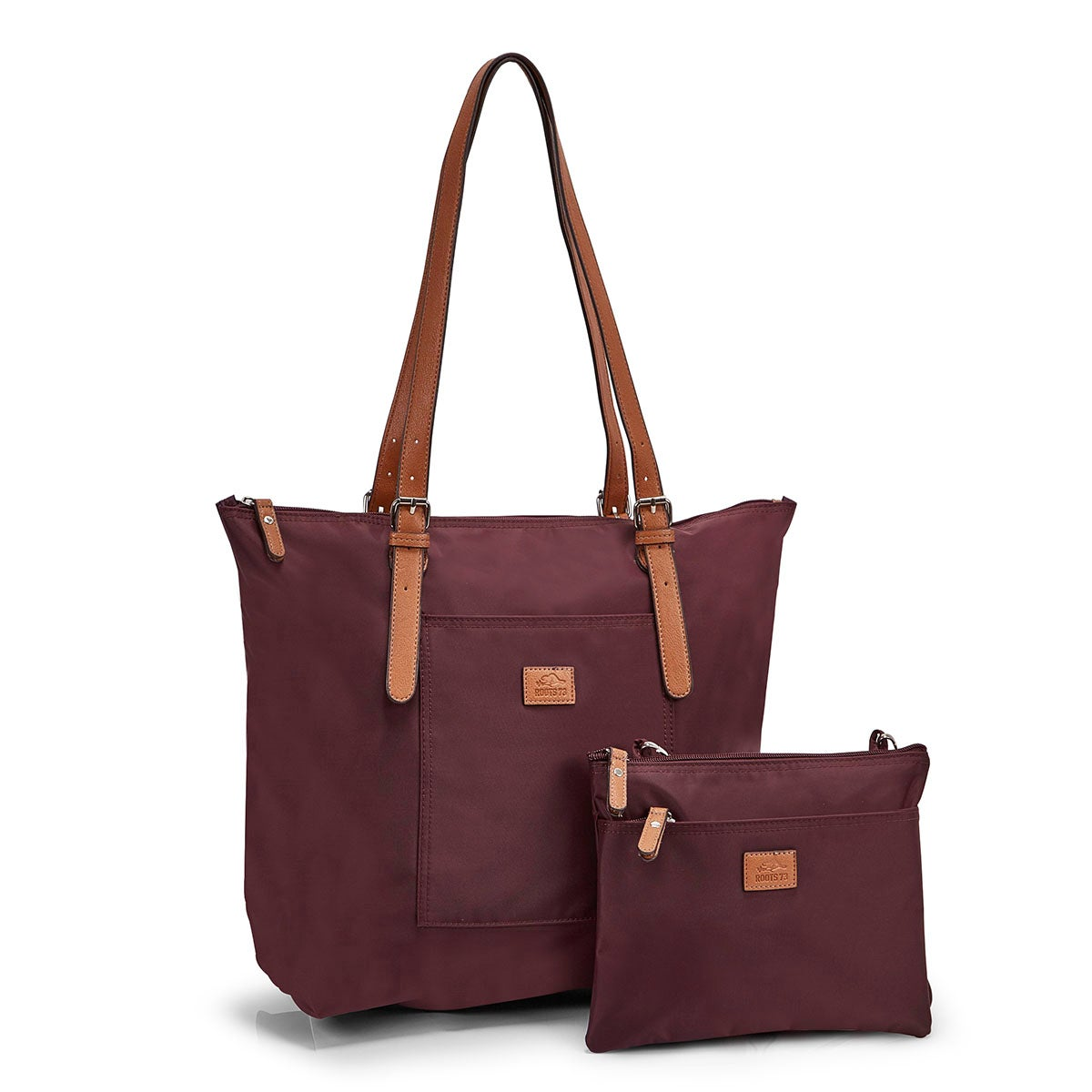 Women's ROOTS73 R4324 burgundy 2 in 1 tote bag