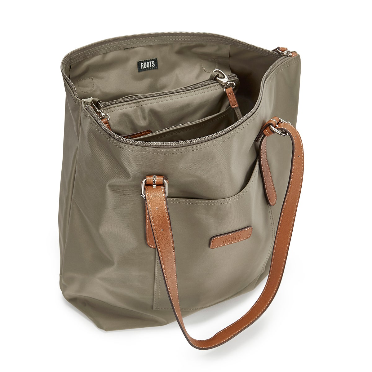 Lds Roots73 khki 2 in 1 tote w/crossbody