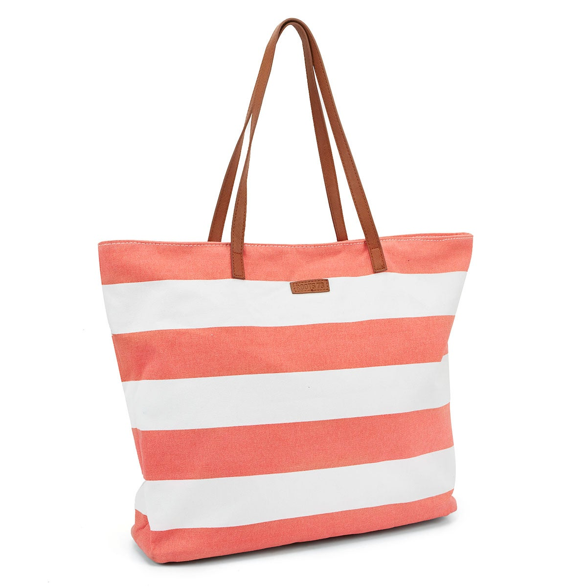 Lds coral/white large striped tote bag
