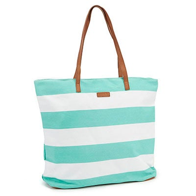 Roots Women's R4407 mint & white striped tote bag