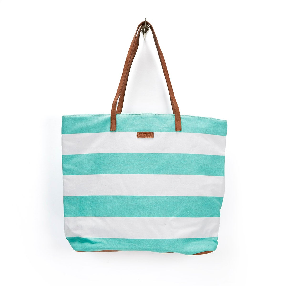 Lds mint/white large striped tote bag