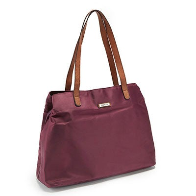 Roots Women's ROOTS73 R4413 plum 3 compartment satchel