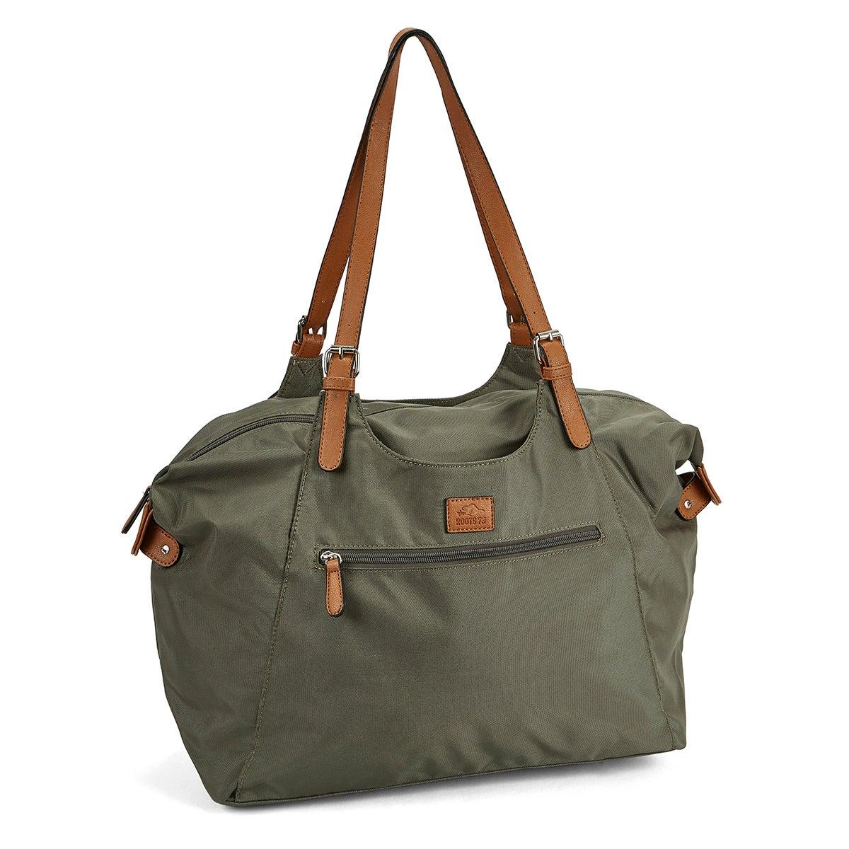 Lds Roots73 khaki nylon large tote bag
