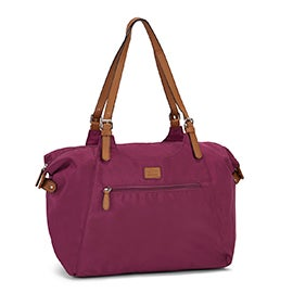 Roots Women's R4700 magenta nylon large tote bag