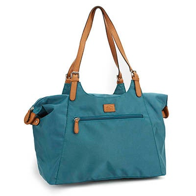 Roots Women's R4700 teal large tote bag