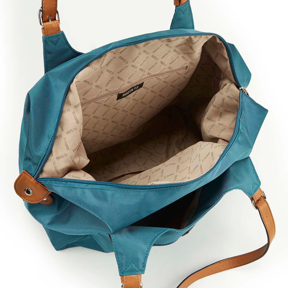 Lds Roots73 teal nylon large tote bag