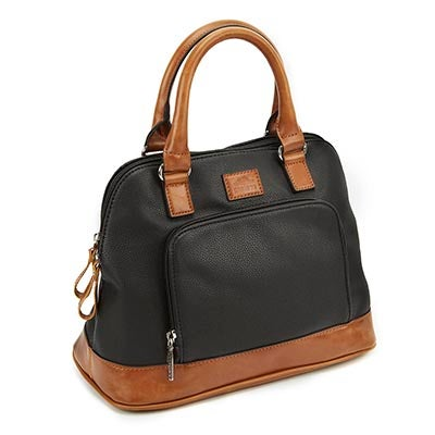Roots Women's R4747 black round top zip up satchel