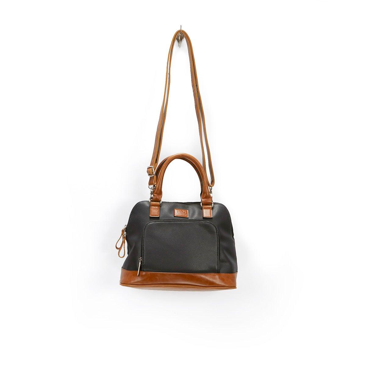 Lds black rounded top zip up satchel