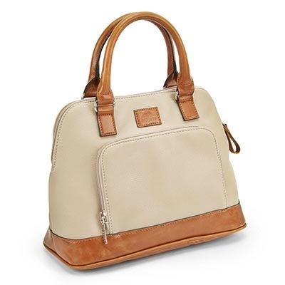 Lds stone rounded top zip up satchel
