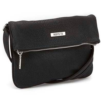 Lds Roots73 blk fold down cross body bag