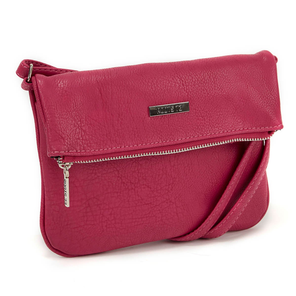 Lds fuchsia fold down cross body bag