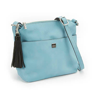 Lds lt blue tassel detail cross body bag