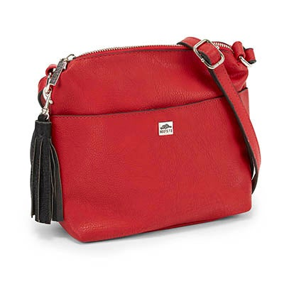 Lds red tassel detail cross body bag