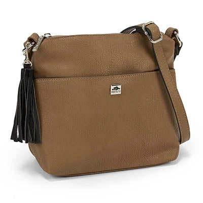 Roots Women's tassel detail taupe crossbody bag