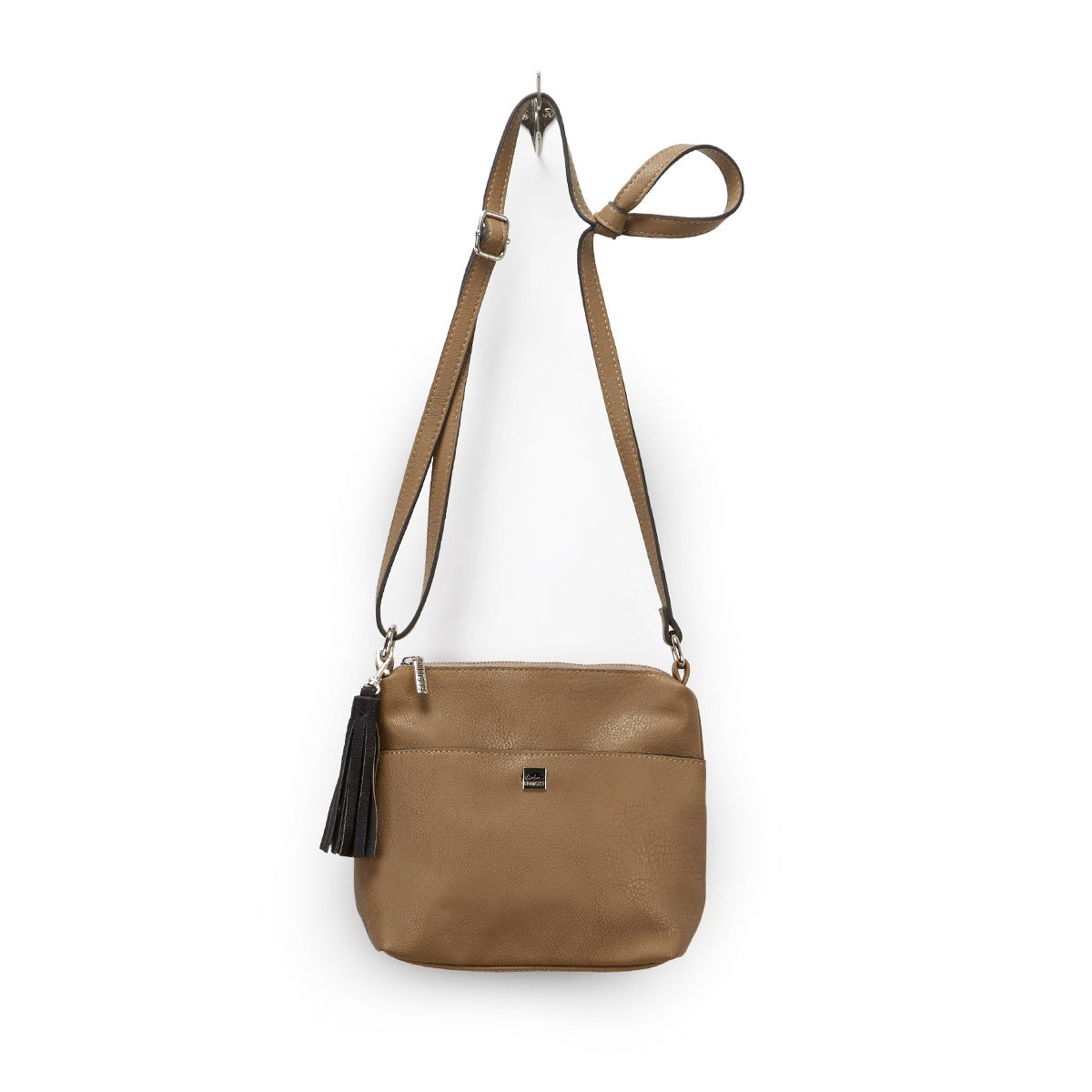 Lds taupe tassel detail cross body bag