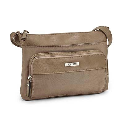 Roots Women's R4780 taupe east west cross body bag