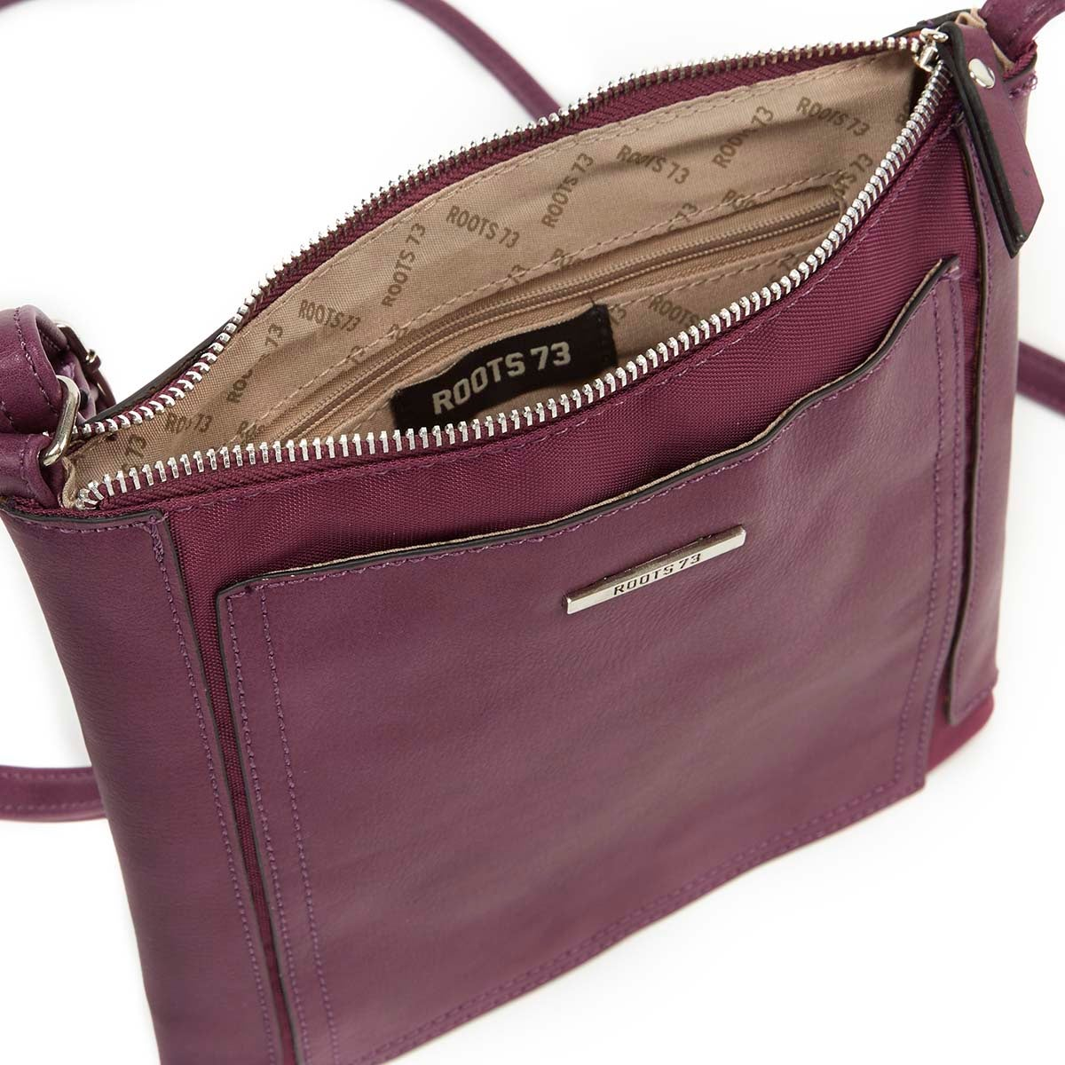 Lds purple north south cross body bag