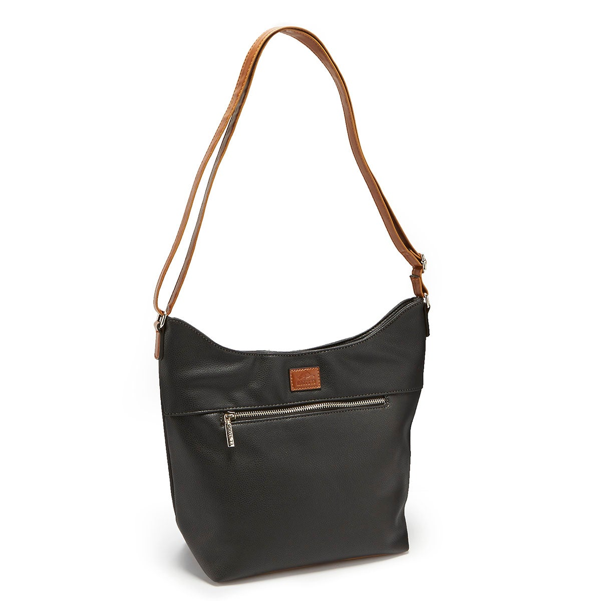 Lds Roots73 blk north/south zip hobo bag