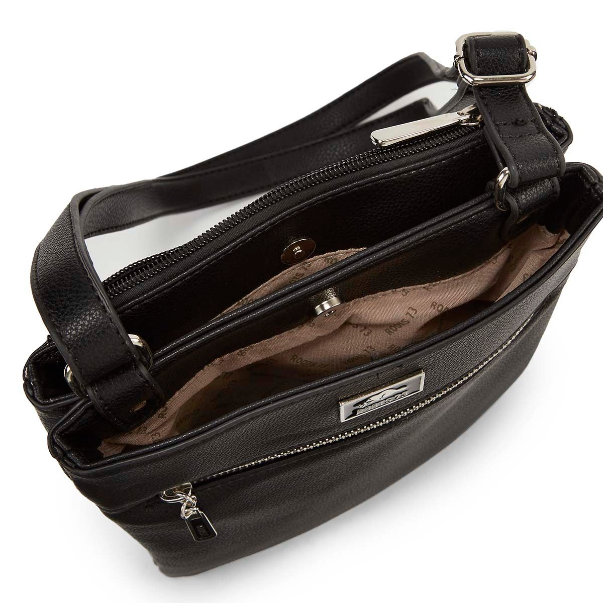 Lds blk N/S 3 compartment cross body bag