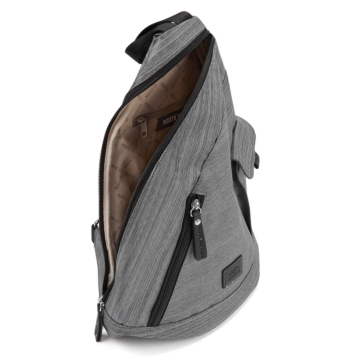 Roots grey textured sling backpack