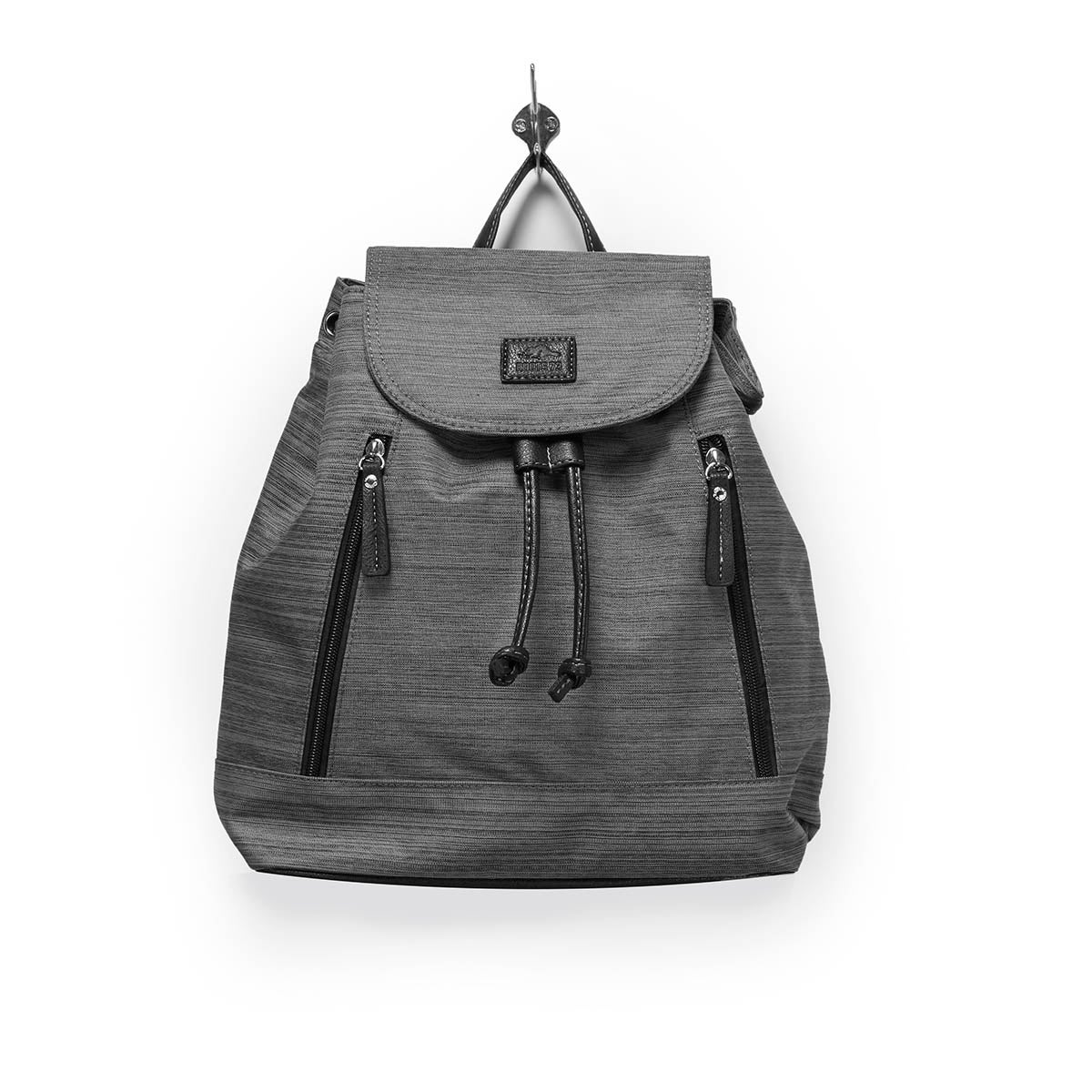 Lds gry textured mini backpack