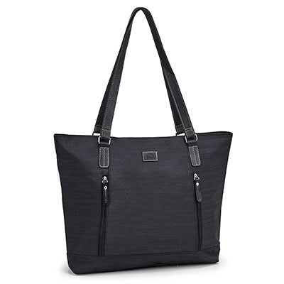 Lds black textured business tote