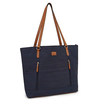 Lds navy textured business tote